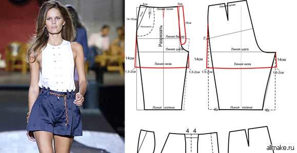 Шьем шорты женские 148