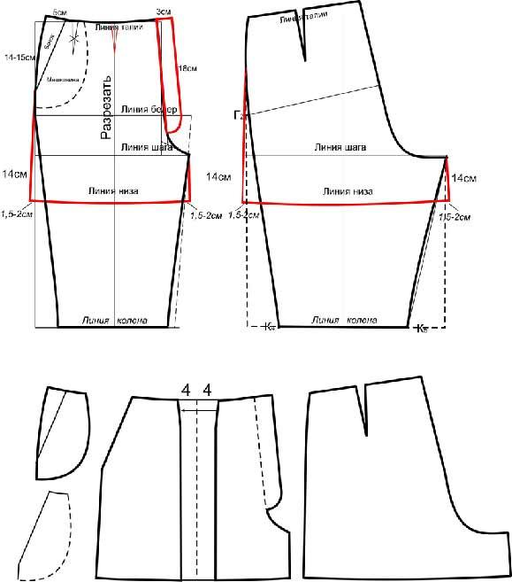 Как сшить бриджи из юбки